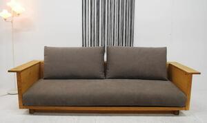 定額・アウトレット・未使用・送料無料・高級家具・ニッポネア・タイホウ・ワイド3Pソファー・オーク材・フェザー入