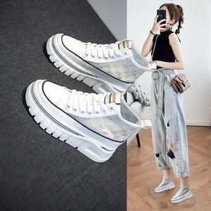 レディースシューズ フラット靴 パンプス シューズ 厚底 メッシュ スニーカー 運動靴 サマーブーツ 白 24cm