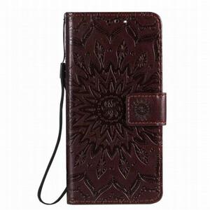 新品 送料無料 iPhone 12 / 12 Pro 茶色 ブラウン 手帳型 ケース スマホ カバー ネイティブ 花柄 フラワー エンボス 幾何学 携帯 PU レザー