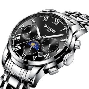 新品上質★機械式自動巻 男性高級腕時計 多機能 カレンダー 曜日表示 サン&ムーン メンズウォッチ 夜光 防水 紳士 仕事 ブラック◇