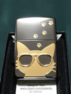 ZIPPO CAT ジッポー ネコ 猫 足跡 サングラス 現状品