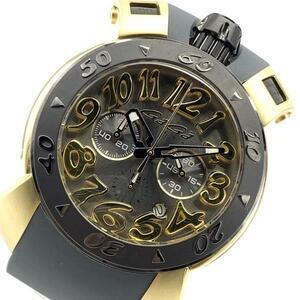 GaGa MILANO ガガミラノ 8014.01 メンズ 腕時計 クオーツ クロノグラフ グレー文字盤 アラビアインデックス 6針 デイト 管理RY21001932