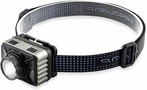 ヘッドライト センサー機能付き 45°角度調整可 4種点灯モード USB充電