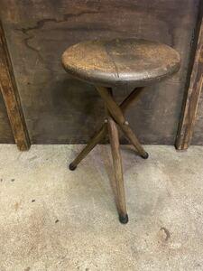 三脚脚の丸椅子 ウッドスツール 古民具 古道具 昭和レトロ 花台 ディスプレイ 丸イス