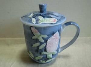マグカップ 蓋付 花柄 取っ手付 陶器製 コップ 工芸品 レトロ