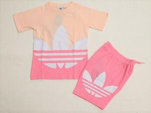 adidas Tシャツ ショートパンツ セットアップ ピンク 100 アディダス オリジナルス ラージ トレフォイル ビッグロゴ 上下セット GD2651