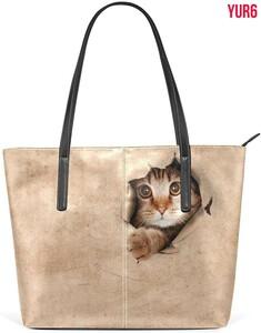 トートバッグ レディース A4 通学 通勤 大容量 PUレザー かわいい ネコ 猫柄