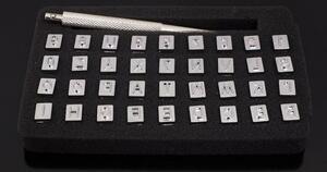 レザークラフト刻印 打刻印 ポンチ アルファベット 数字 英字 36文字セット 文字サイズ6.5mm 革工具 刻印セット メタルスタンプ