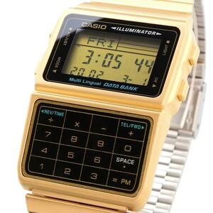 送料無料 腕時計 CASIO カシオ 海外モデル DBC-611G-1 DATA BANK データバンク 金色 デジタル メンズ