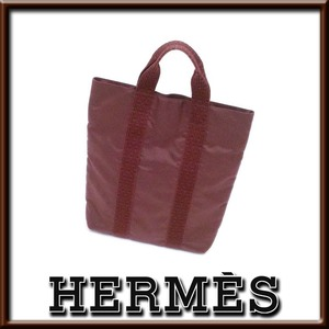 【美品】エルメス エールラインカバス 茶 キャメル ブラウン キャンバス 縦型トートバッグ フランス製 appre6930【一撃即決】