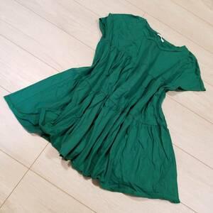 M644 GU ジーユー ティアード オーバーサイズ T シャツ S 半袖 トップス 緑系 グリーン系 カットソー フレア 綿100% コットン