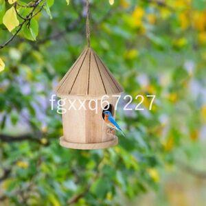 JV034:庭木用ぶら下げ型の鳥の巣箱 小鳥を庭に呼び込める 木製でかわいいとんがり屋根型 ガーデニングに