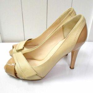 DIANA/ダイアナ☆オープントゥ ヒール パンプス 21 ベージュ バイカラー エナメルレザーコンビ 日本製 靴 小さいサイズ