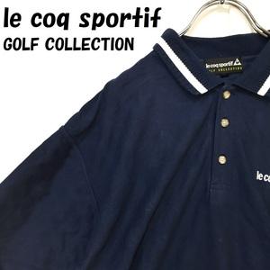 【人気】le coq sportif GOLF COLLECTION/ルコックスポルティフ ゴルフ ワンポイントロゴ 半袖 ポロシャツ ネイビー サイズL/S2164
