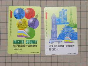使用済 名古屋市交通局 一日乗車券2種セット