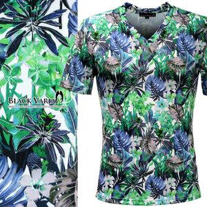 9#173311-gr ブラックバリア ボタニカル 花柄 半袖VネックTシャツ 南国 葉っぱ 南の島 リゾート (ブルー青グリーン緑) XL 総柄 華やか