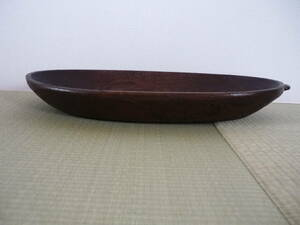 ◇木彫り トレイ 木製 葉形 ディスプレイ 古道具 木鉢 骨董 古道具 民藝 盆◇