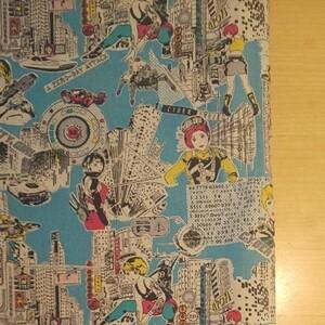 コスモテキスタイル サイバーガール キャンバス生地 ブルー系 生地巾約108cm×約50cm