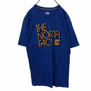 THE NORTH FACE ザノースフェイス Tシャツ クルーネック コットン ブルー 半袖 プリントデザイン L YR14 km