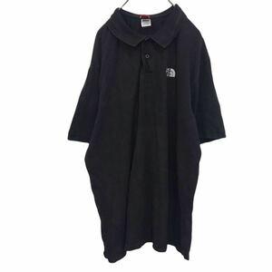 THE NORTH FACE ザノースフェイス ポロシャツ 半袖 ブラック ワンポイント刺繍ロゴ ハーフボタン YT2007 km