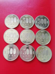 2 sheets *. peace origin year 500 jpy coin * shining * coin 2 sheets rare rare postage 65 jpy * bacteria elimination have been cleaned