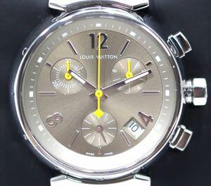 磨き済 超美品 ヴィトン Q1322 タンブール クロノグラフ クオーツ ステンレスベルト 時計 ボーイズ