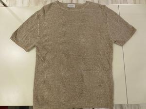 エディフィス EDIFICE メンズ 半袖シャツ カットソー Tシャツ トップス 麻 ベージュ