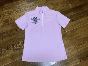 le coq sportif ルコック ハーフジップ 半袖シャツ ピンク レディース LLサイズ ゴルフ トップス