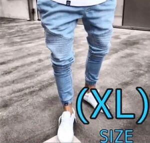 新品スキニーデニム XLサイズ ジョガーパンツインディゴ 韓国 オルチャンメンズ デニムパンツ ジーパン スキニー