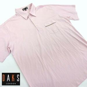 ☆DAKS/ダックス/半袖ポロシャツ/ゴルフ/日本製/大きいサイズ/ピンク系/LL[FC0328