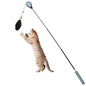 猫おもちゃ人気釣り竿 猫じゃらし羽のおもちゃ(ピンクとブルー二種類)
