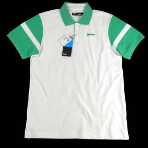 新品◆SRIXON◆吸汗速乾 UPF50+ 放熱 スリクソン 半袖 ポロシャツ L ホワイト×グリーン◆ゴルフ Coolist D-Tec◆J790