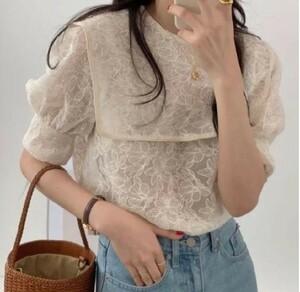 【出品明日まで】 お値下げしましたセール品 韓国 パフスリーブシャツ 夏服 秋服