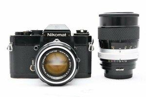 ◇ Nikon ニコン Nikomat EL + 非AI NIKKOR-S Auto 50mm F1.4 + 非AI NIKKOR-Q.C Auto 135mm F2.8 MF一眼 標準 大口径 中望遠 単焦点