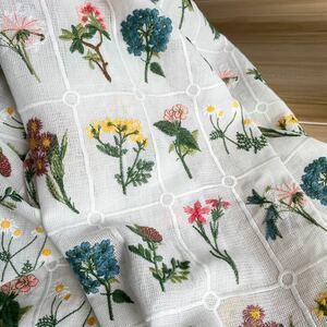 レース刺繍生地 花刺繍 豪華刺繍 50cm