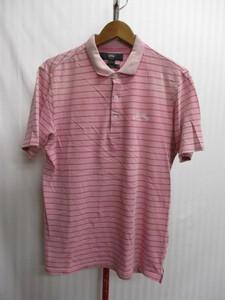 キャロウェイ ポロシャツ メンズL ピンクボーダー柄シャツ メンズポロシャツ ゴルフウエア ゴルフシャツ X05204