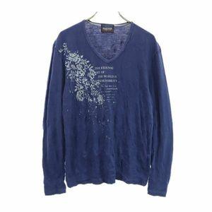ニコルクラブフォーメン シワ加工 プリント 長袖 Tシャツ 46 紺 NICOLE CLUB FOR MEN Vネック メンズ 210626 メール便可