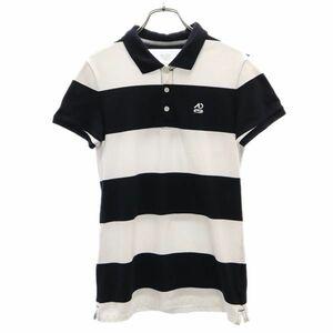 ナイキ ボーダー 半袖 ポロシャツ L 白×黒 NIKE ロゴ刺繍 鹿の子 レディース 210630 メール便可