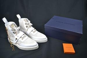 新品 定価25万 LOUISVUITTON ルイヴィトン LV CREEPER ANKLE BOOT WHITE 9.5 約28cm クリーパーラインアンクルブーツ