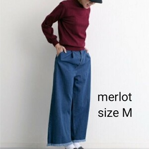 merlot メルロー フリンジ デニム ワイドパンツ タック 切りっぱなし バギーパンツ ニコアンド ウエストゴム サイズ M