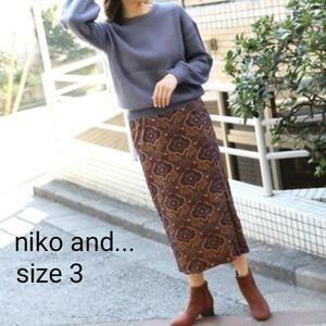 niko and… ニコアンド ベロア プリント ペイズリー スカート PAGEBOY JEANASIS サイズ 3