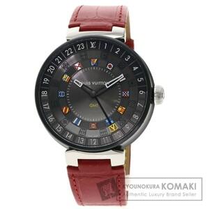 LOUIS VUITTON ルイヴィトン QA097 タンブール ムーンデュアルタイム GMT 腕時計 ステンレススチール 革 メンズ 中古品