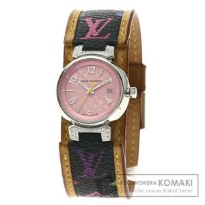 LOUIS VUITTON ルイヴィトン Q121E タンブール ダイヤモンド 腕時計 ステンレススチール 革 レディース 中古品