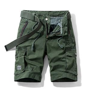 W30 グリーン カーゴパンツ ショート丈 ハーフパンツ メンズ 無地 ストレッチ 多機能 短パン 多ポケット カジュアル 夏 ボトムス