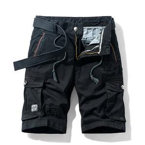 W32 ブラック カーゴパンツ ショート丈 ハーフパンツ メンズ 無地 ストレッチ 多機能 短パン 多ポケット カジュアル 夏 ボトムス