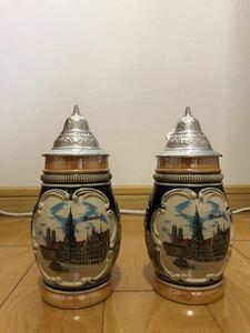 未使用 ビアマグ ビールジョッキ 陶器 蓋付き ドイツ製 蓋付 ドイツ アンティーク 400ml