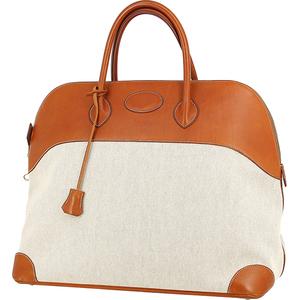 6444 中古 エルメス ボリード47 レザー キャンバス ブラウン ベージュ ゴールド金具 ハンドバッグ トートバッグ 旅行鞄 トラベル ビジネス
