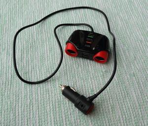 延長シガーライターソケット 2口 USB充電4口