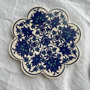 トルコ陶器製コースターiznik04 トルコ製 飾り皿 手描きコースター