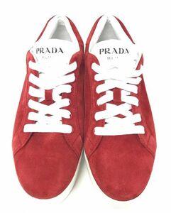 θ PRADA/プラダ スウェード スニーカー サイズ38 1/2 メンズスニーカー レッド×ホワイト 本体のみ S75328144010